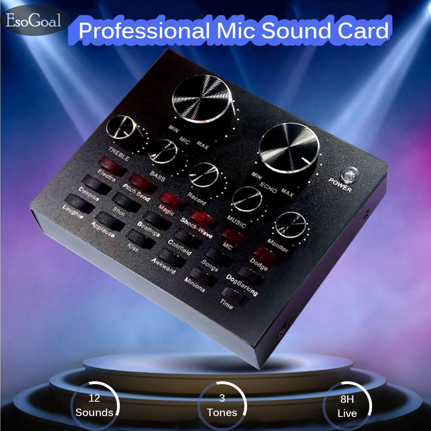 EsoGoal Audio Mixer Audio Interfaces Karaoke Sound Card Digital Effects Net Red Live Streaming Audio Interface with 12 Electric Sounds 12 Sound Effects 3 Tones for TV PC smart phone
