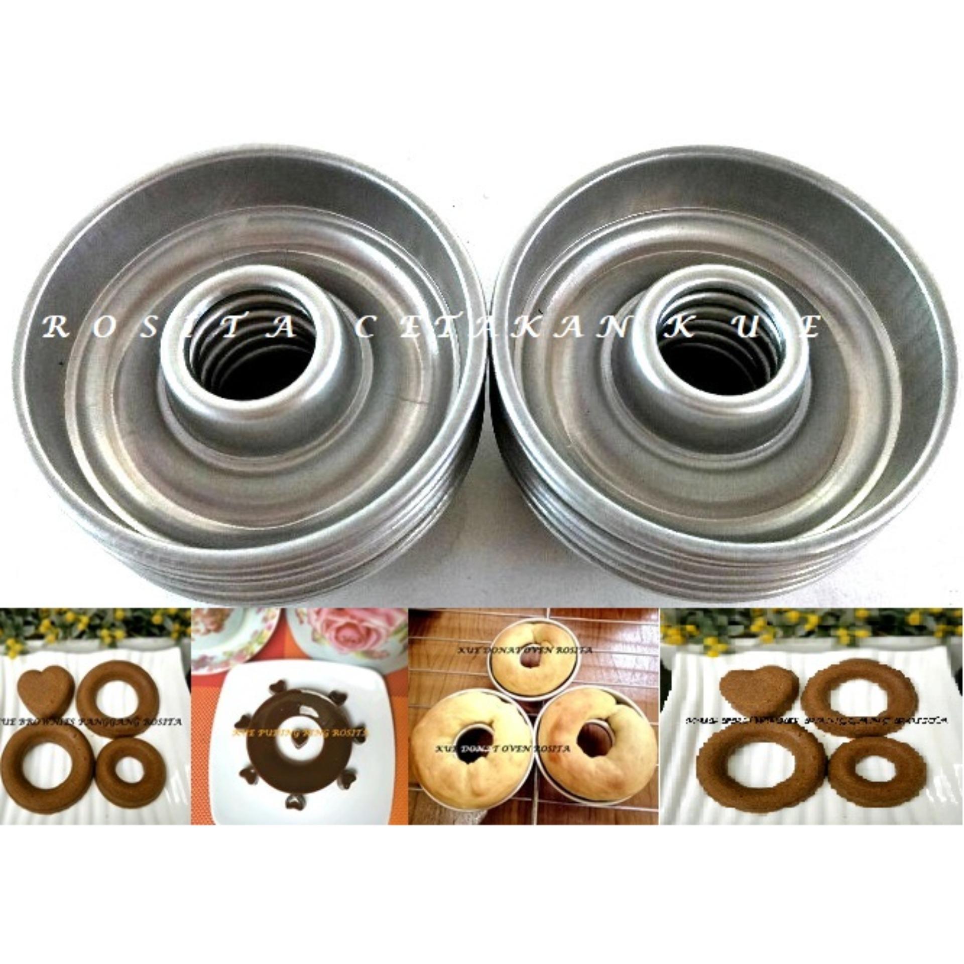 Rosita 12pcs Cetakan Kue Donat Oven Aluminium 8,2 cm TEBAL BERKUALITAS
