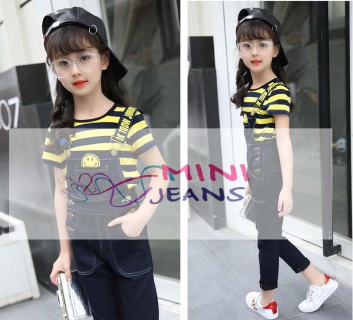 [ update terbaru ]  Baju Setelan Anak Perempuan Garis Hitam Kuning Celana Jeans Overall