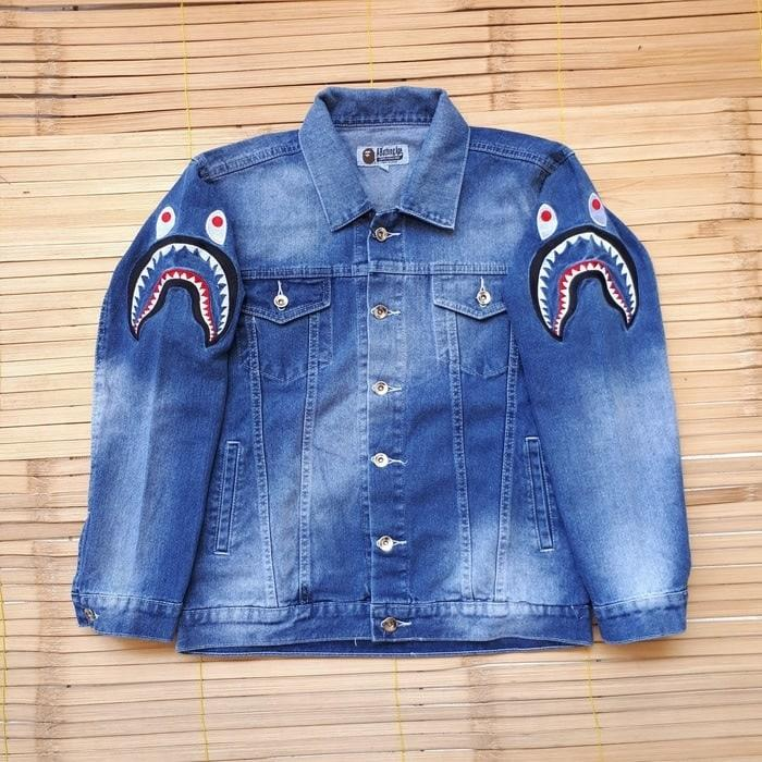 Harga Diskon!! JAKET JEANS A BATHING APE BAPE SHARK BLUE WASH - ready stock