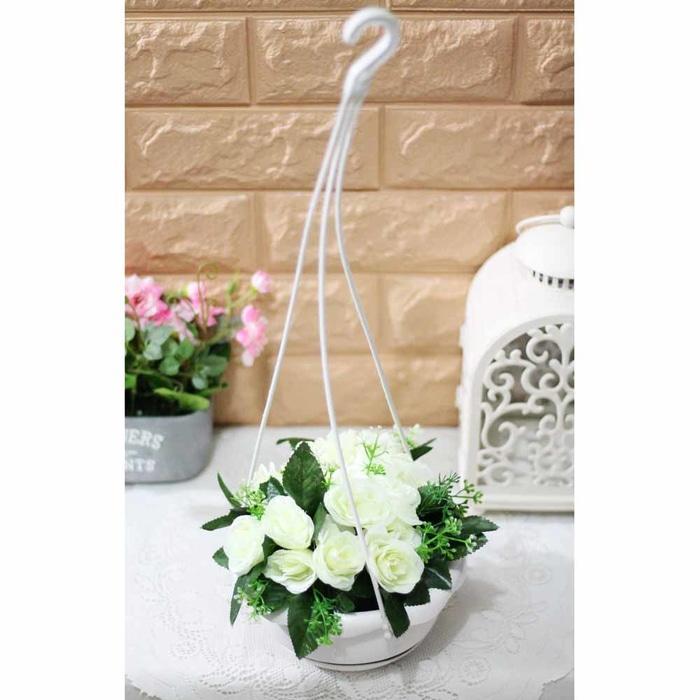 bunga plastik hias artificial artifisial mawar + pot gantung shabby A5 - hdBlex