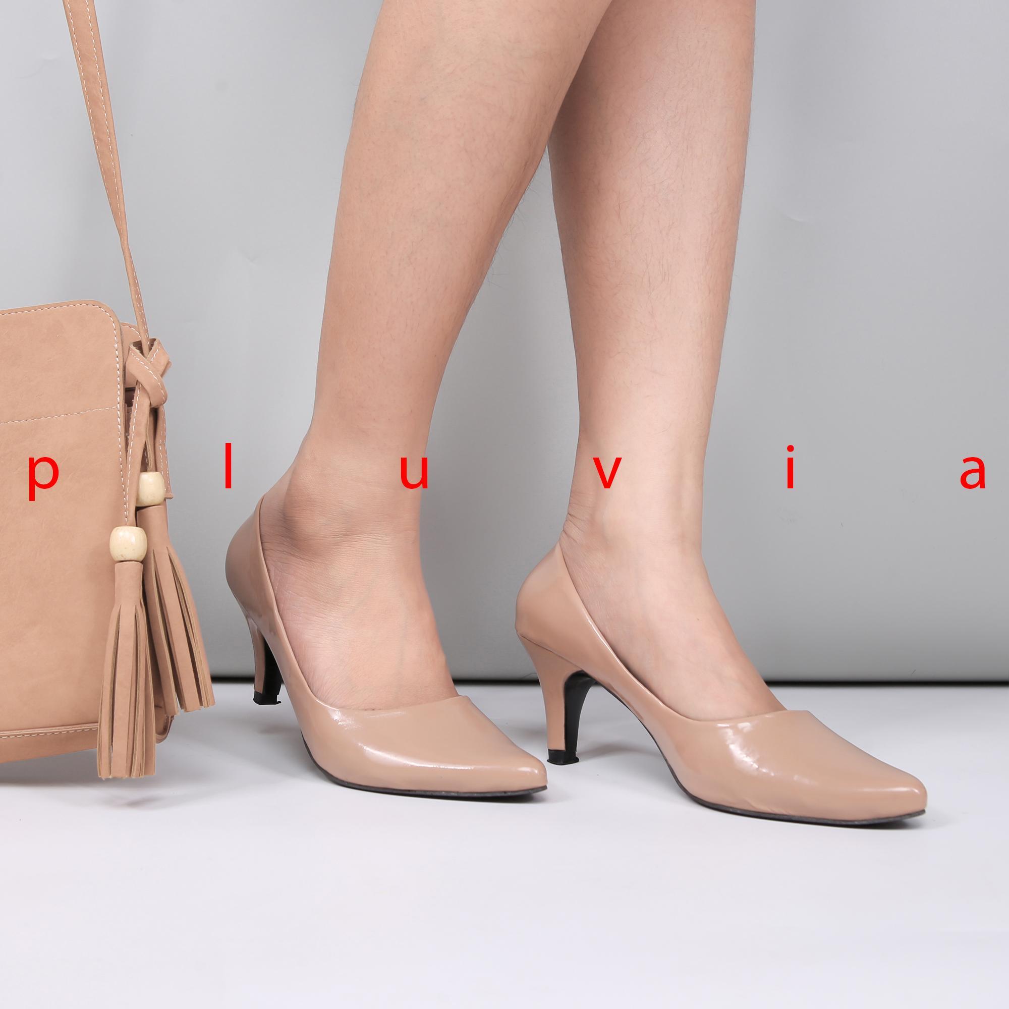 Pluvia - Sepatu Kerja Pantofel High Heels Wanita BB01 - Mocca