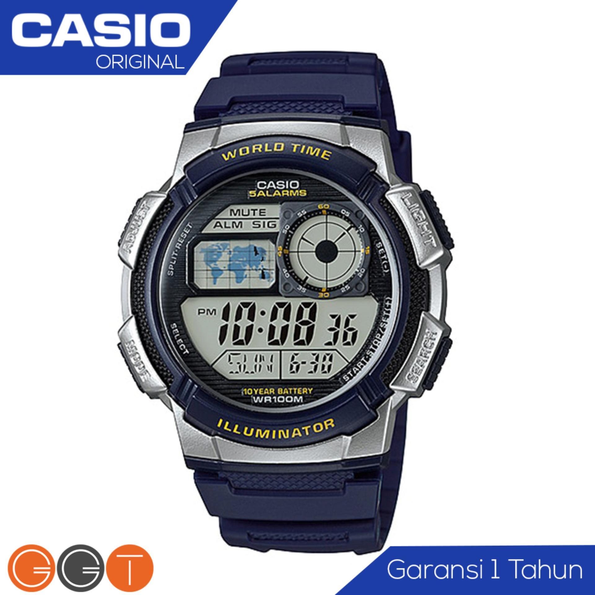 CASIO Original Illuminator AE-1000W - Jam Tangan Pria Casio - Tali Karet Rubber Resin