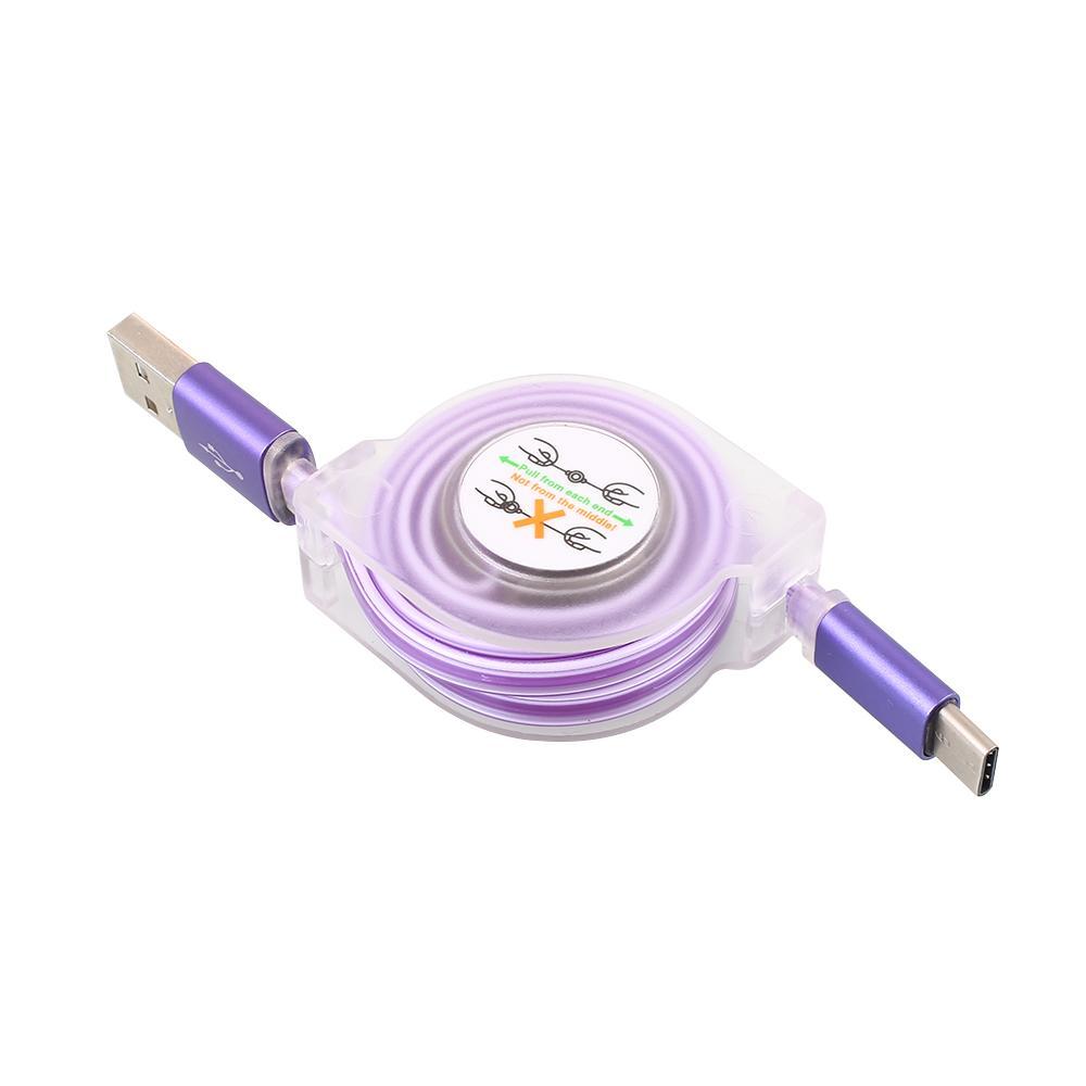 Kabel Pengisi Daya Data Line Portable USB3.1 Tipe-C Ponsel Yang Bisa Ditarik Perjalanan untuk Macbook