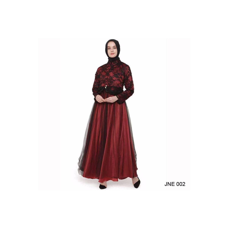 terbaru Busana Gamis Brokat Modern Warna Merah