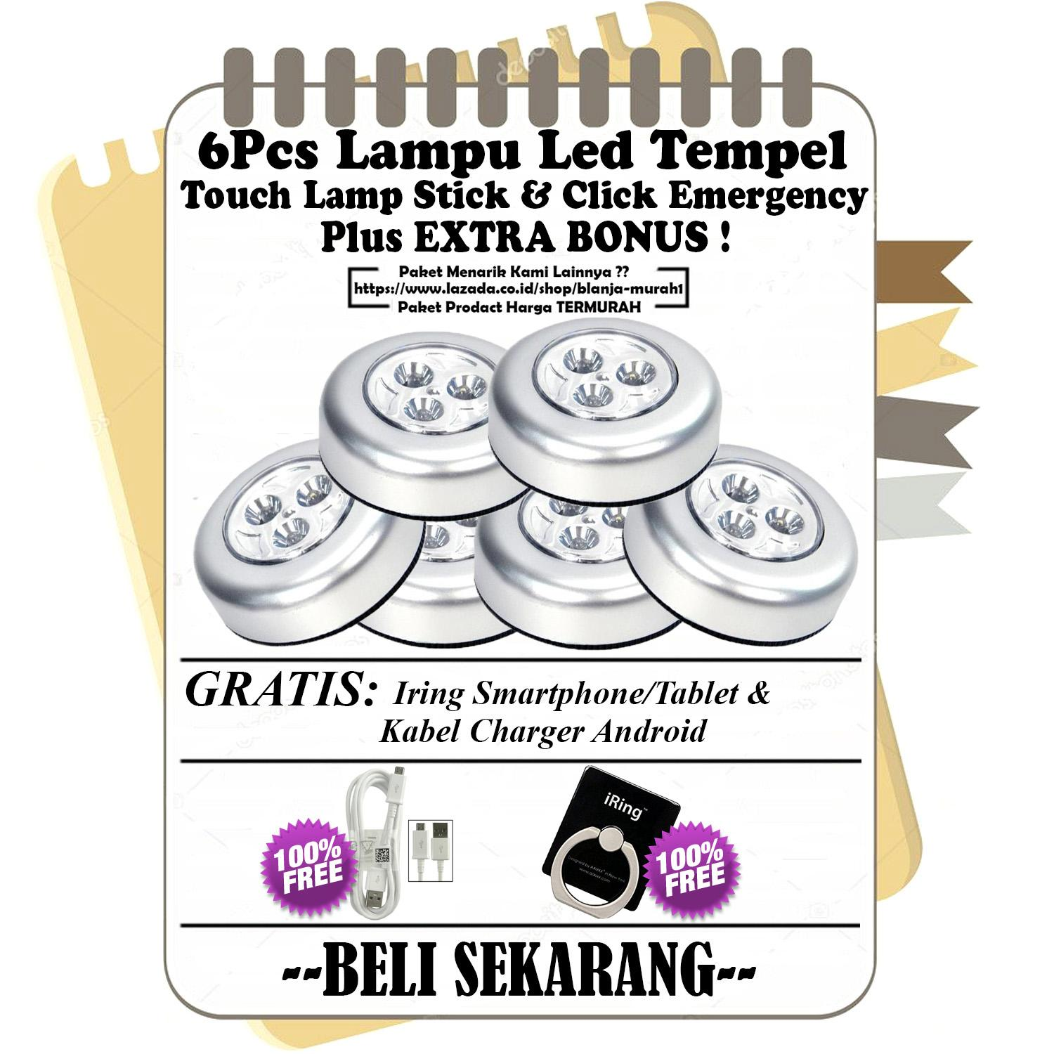 6Pcs Lampu Led Tempel / Touch Lamp Stick / Lampu Led Lemari Baju / Gudang / Lampu Belajar - Lampu Tempel LED - Touch Lamp Stick n Click Emergency - GRATIS Kabel Charger Micro Android & Iring Stand HP/Tablet