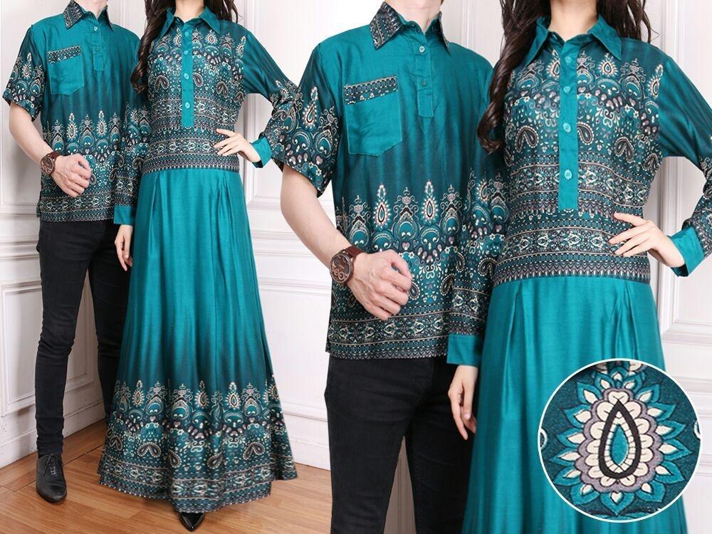 Flavia Store Batik Couple FS0174 - HIJAU / Sarimbit / Baju Muslim Pasangan / Sepasang Busana / Kemeja Pria Gaun Muslimah Gamis Wanita / Tzcpkartika