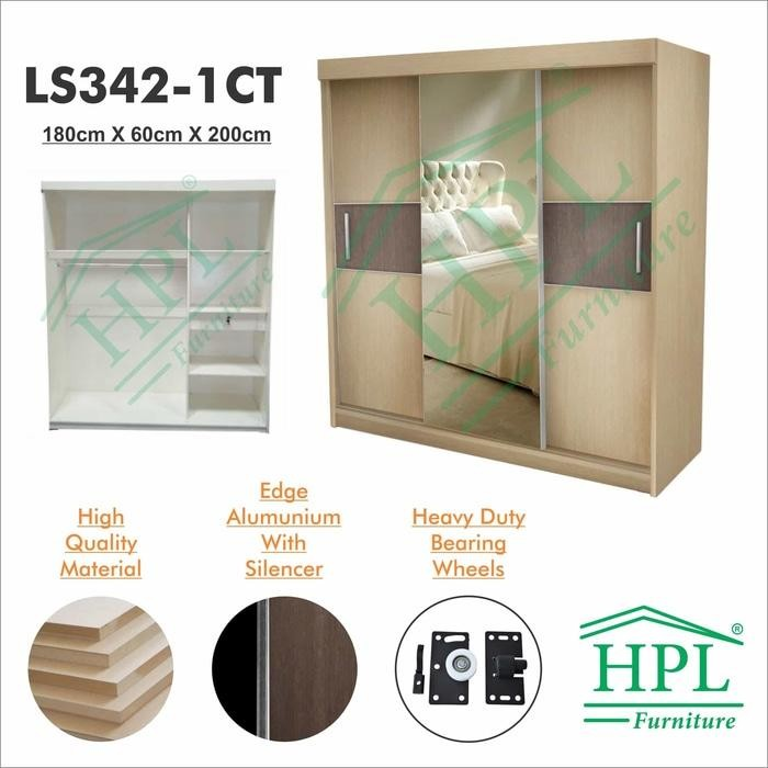 Promo    Lemari Pakaian Sliding Door 3 Pintu HPL-Cream Kayu Strip Crm LS342-1CT    Original