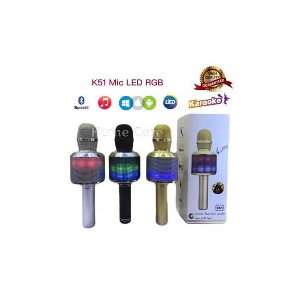 Termurah K51 Mic Wireless Bluetooth Karaoke LED RGB Microphone Speaker KTV Efek USB Player Q7 / Q9