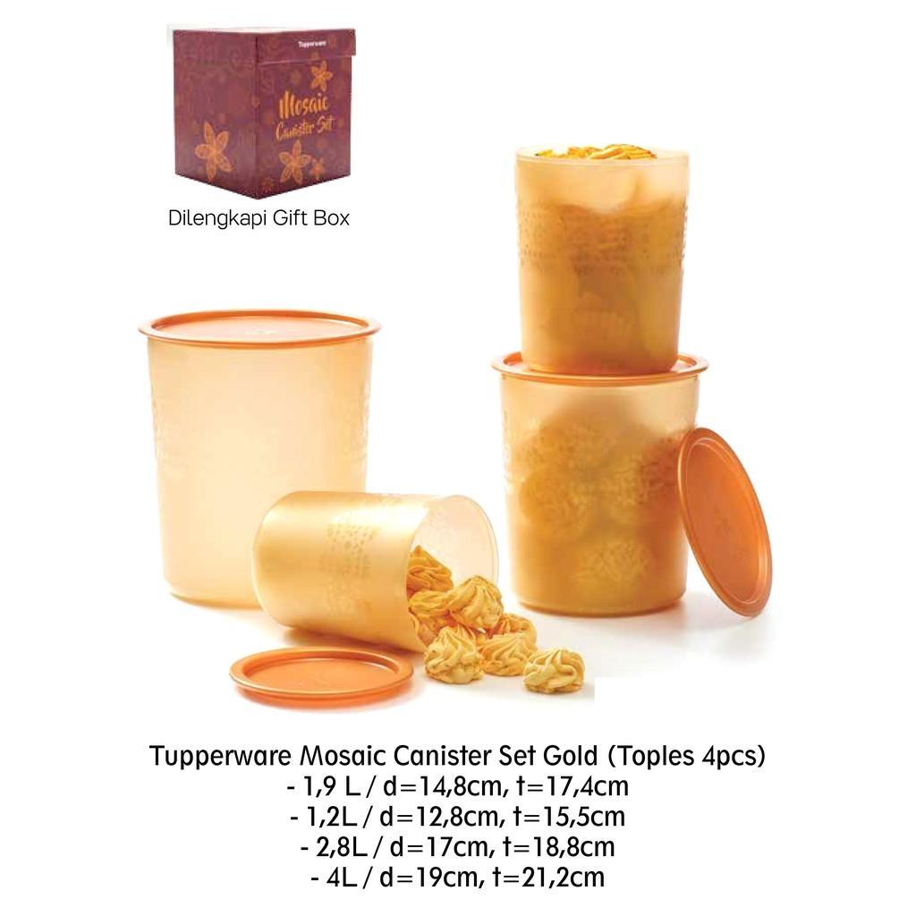 Beli Canister Set Store Marwanto606 1 Toples Mosaic 4pcs Gold Penyimpanan Cantik Variasi 1set