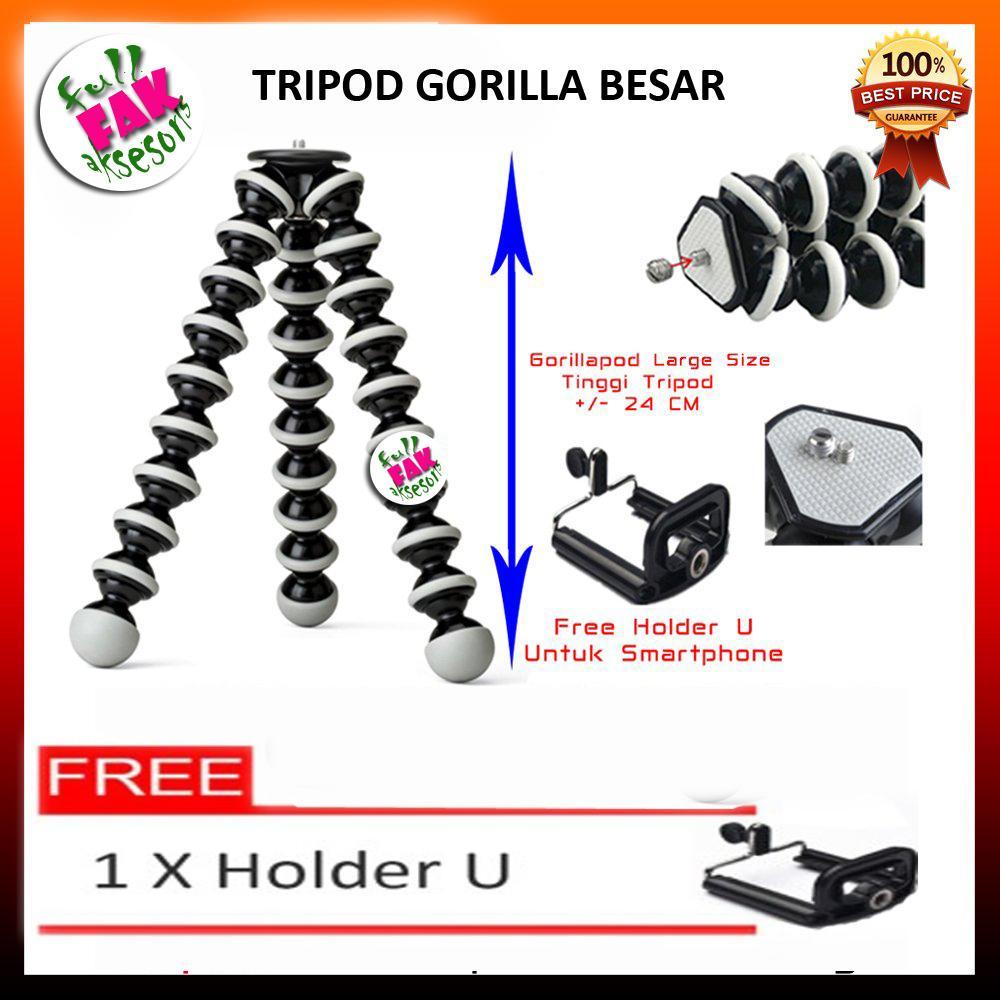 FAK - Tripod Camera / Gorilla Pod Tripod 24CM For Kamera Dslr Size XL Free Holder