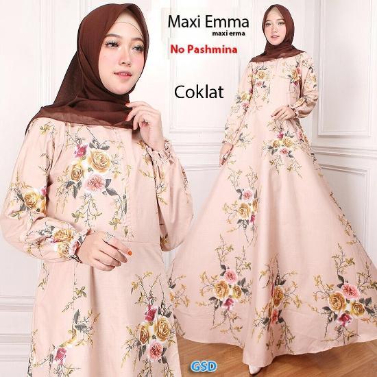 Gamis Maxi emma hitam, putih, pink, krem dan coklat Fit L