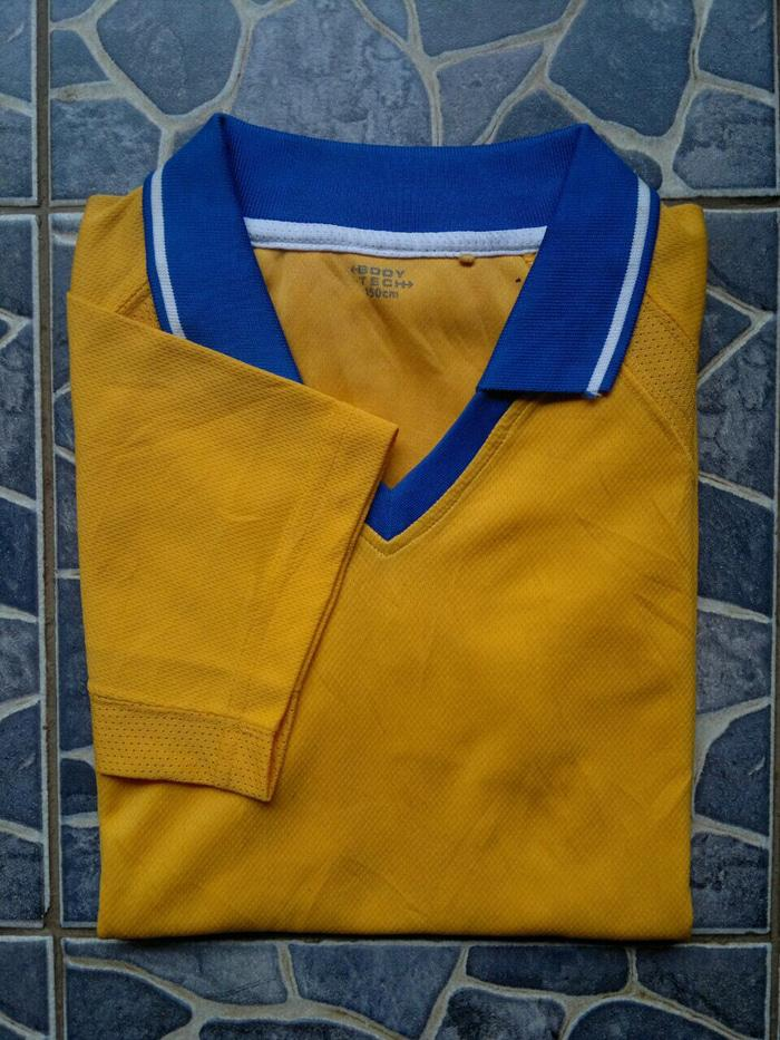 ORIGINAL!!! Kaos Kerah Olahraga Uniqlo Body Tech Polo Shirt Yellow Size M - 5tc1ov