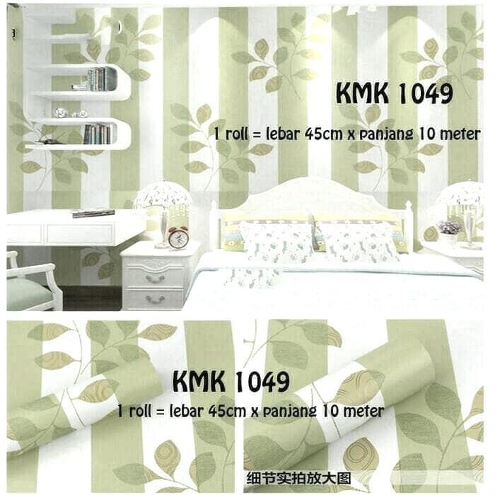 Wallpaper Dinding minimalis Motif Garis Daun Hijau -Quality