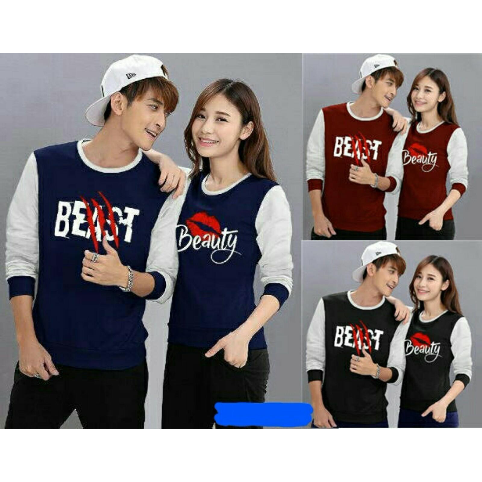 legiONshop-baju pasangan  sweater pasangan  sweater couple  atasan murah  pakaian couple terbaru  baju kembar  baju couple  sweater kembar BEAST N BEAUTY (pria dan wanita )