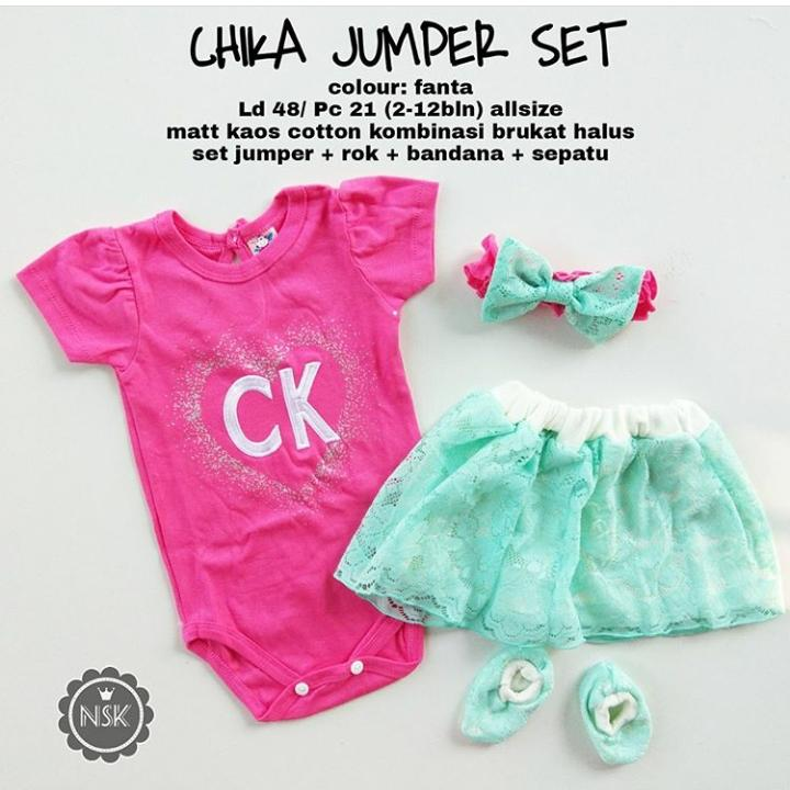setelan jumper rok love ck free bandana dan sepatu Anak Perempuan - Baju Setelan Bayi Cewek Lucu