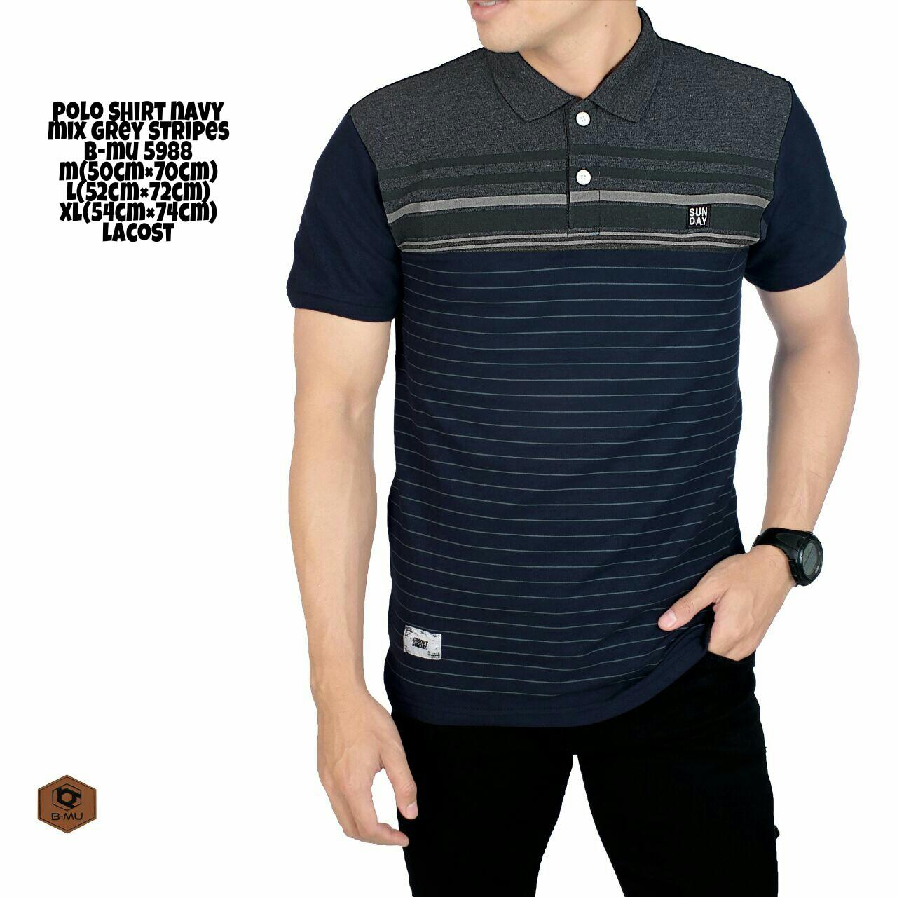 the most Kaos Polo shirt hitam mix Lines garis kaos kerah pria baju polo  casual 3784d0fa15