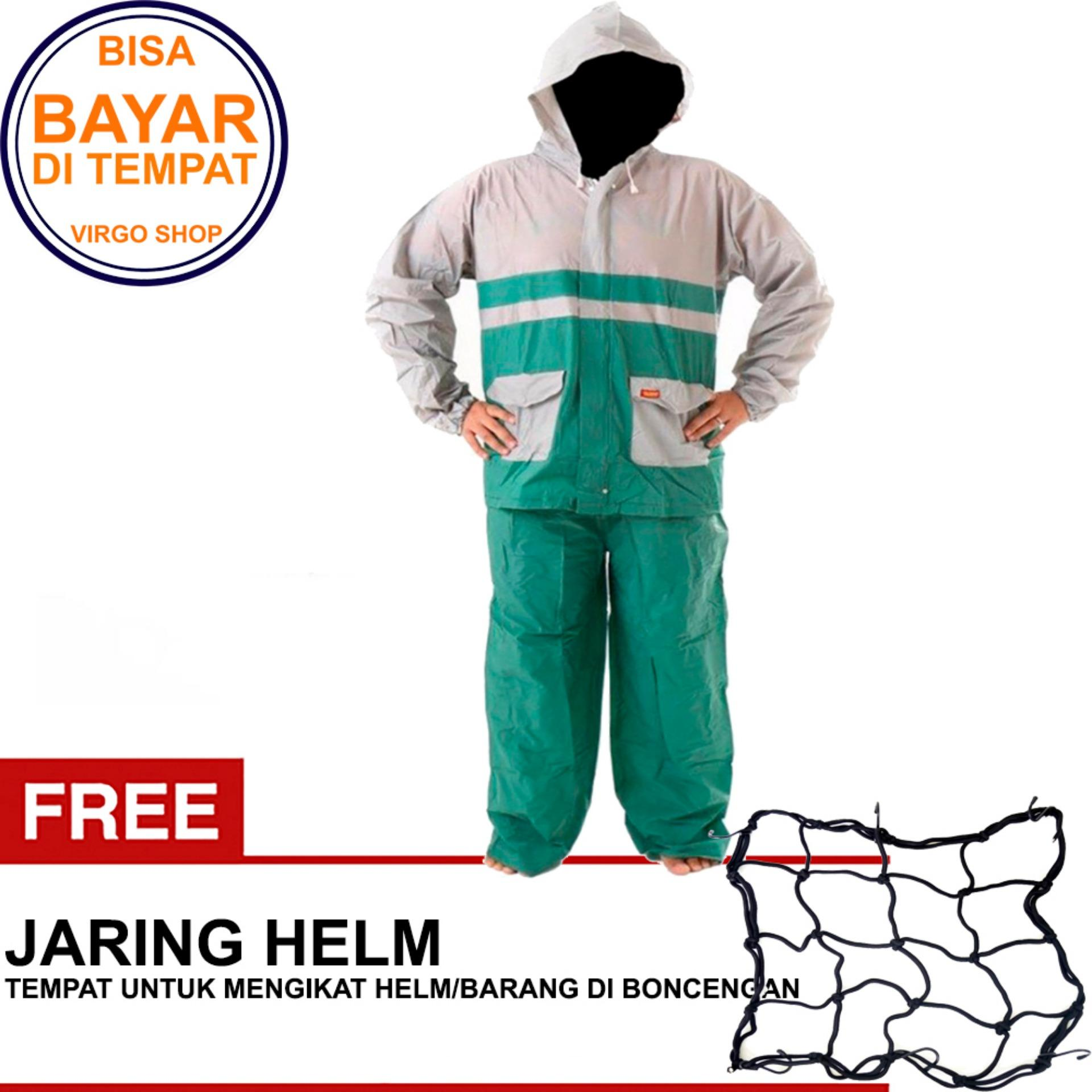 Termurah Elmondo Jas Hujan Setelan Baju Celana - New Kombinasi Tipe 905 Hijau Bonus Jaring Helm HITAM
