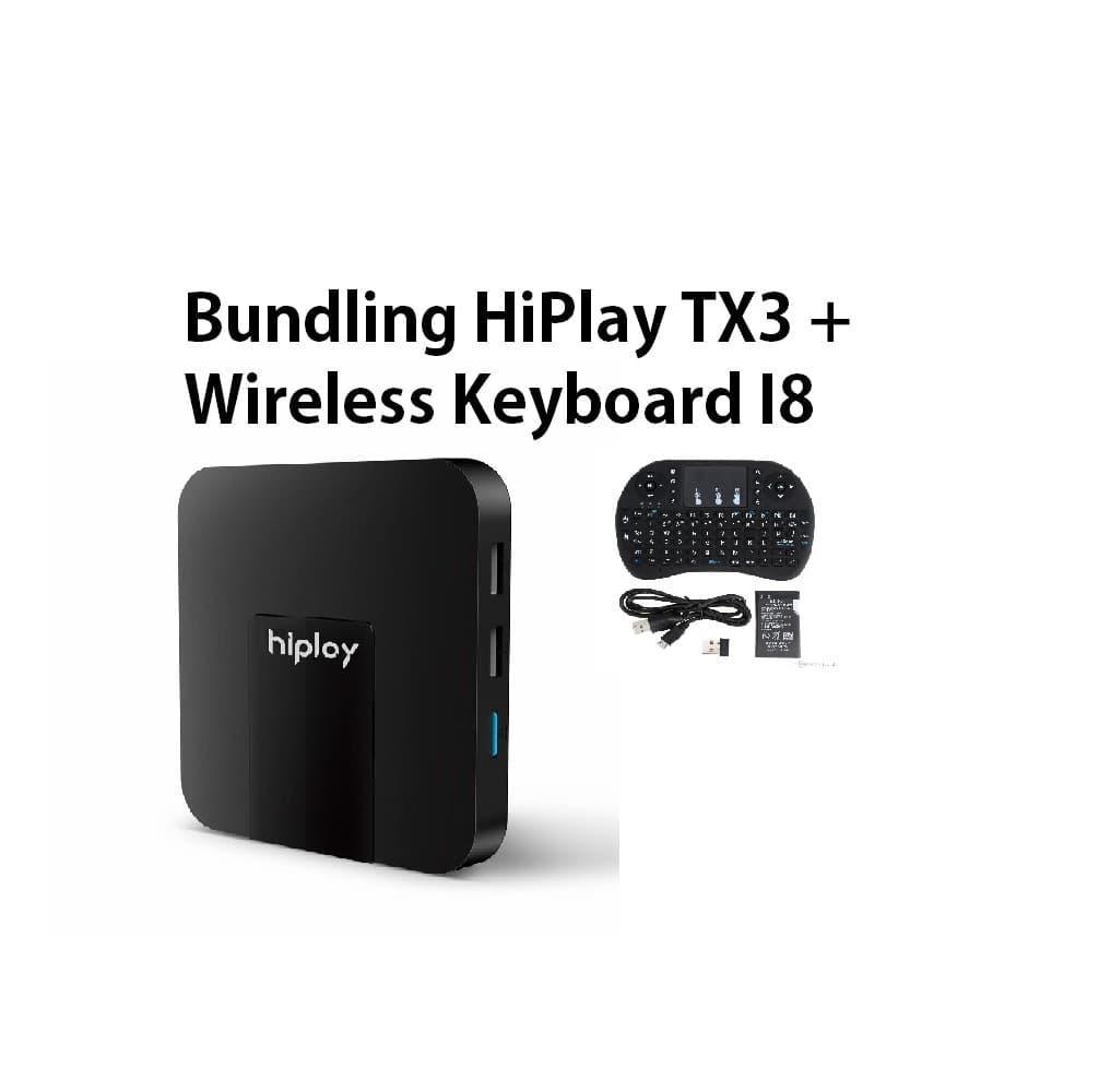 Paket Bundling Smart TV Box HiPlay TX3 Mini Android TV Box S905W 2GB/16GB Android 7.1 Nougat Canggih Terbaru + Wireless Keyboard I8 Termurah Paket Combo Terbaik Garansi Streaming Nonton Channel Luar Negeri International Local Gratis Wifi Original TV BOX