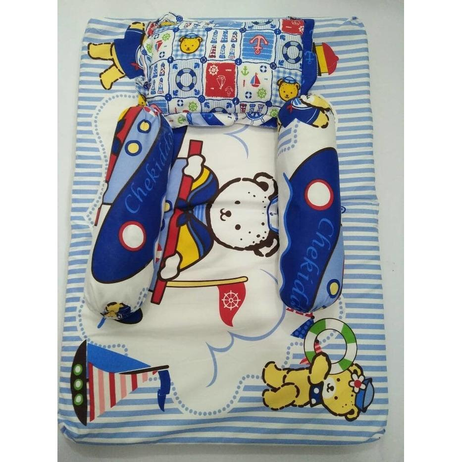 Gema Kasur Matras / Lipat Bayi (1 Bantal+ 2 Guling ) Chekiddo Set - Biru