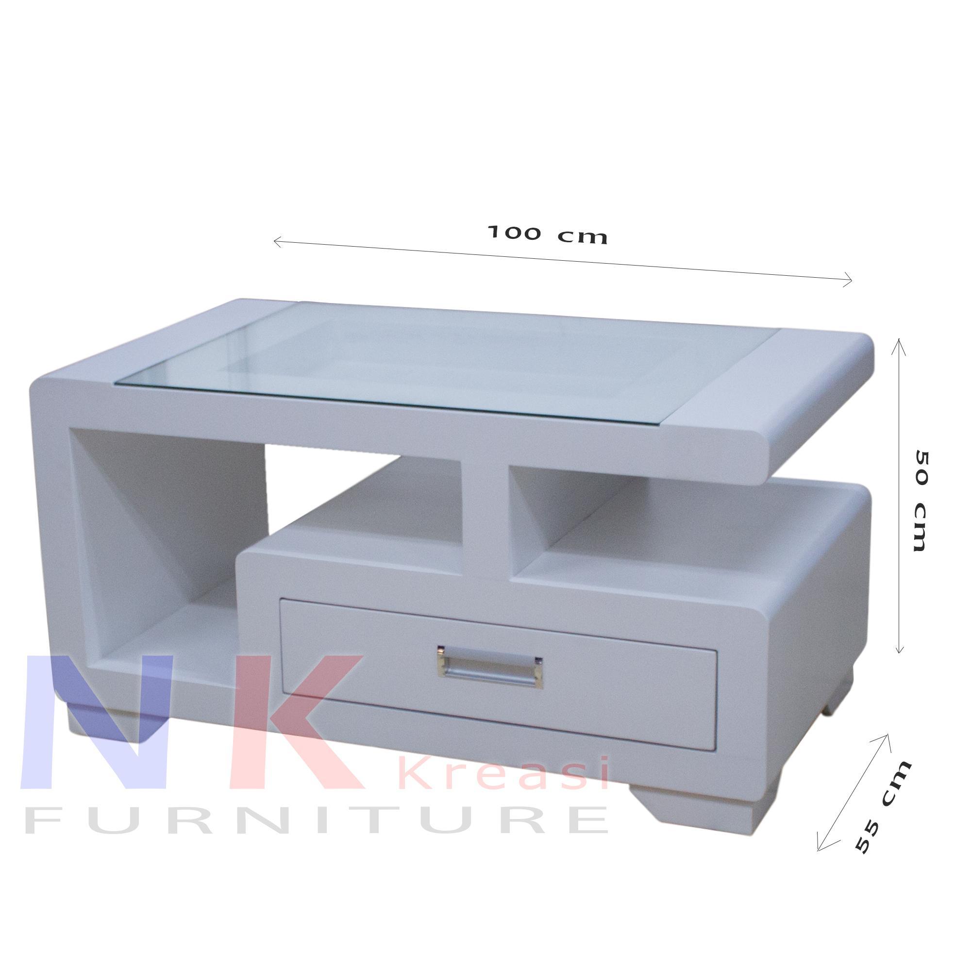Meja Tamu Duko Putih, Meja Utama Kayu Kerang Leter G minimalis mewah - JABODETABEK ONLY
