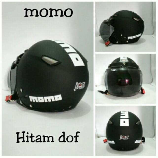 Helm Dewasa jpn momo tanduk hitam doff dan kc bogo