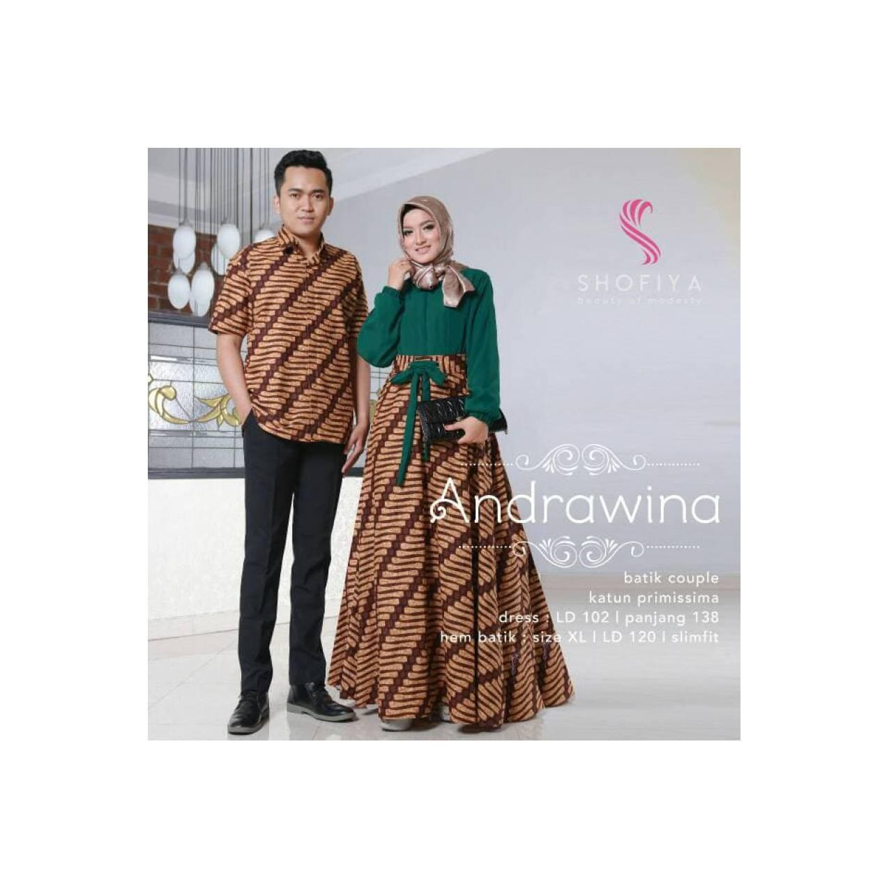 Gamis cauple andrawina dress batik by ori shofiya Diskon