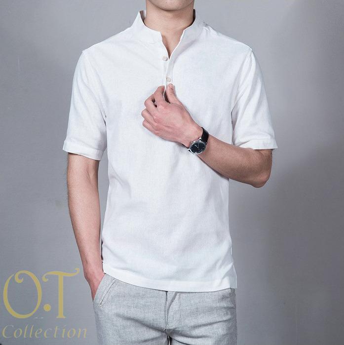Koko Syarif I kerah shanghai I kemeja kantoran formal trendy I kemeja katun I Lengan Panjang Pendek