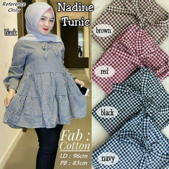 Nadine Tunic - Navy / Atasan Wanita / Blouse Wanita / Baju Wanita / Baju Wanita Murah / Baju Wanita Kekinian / Best Seller