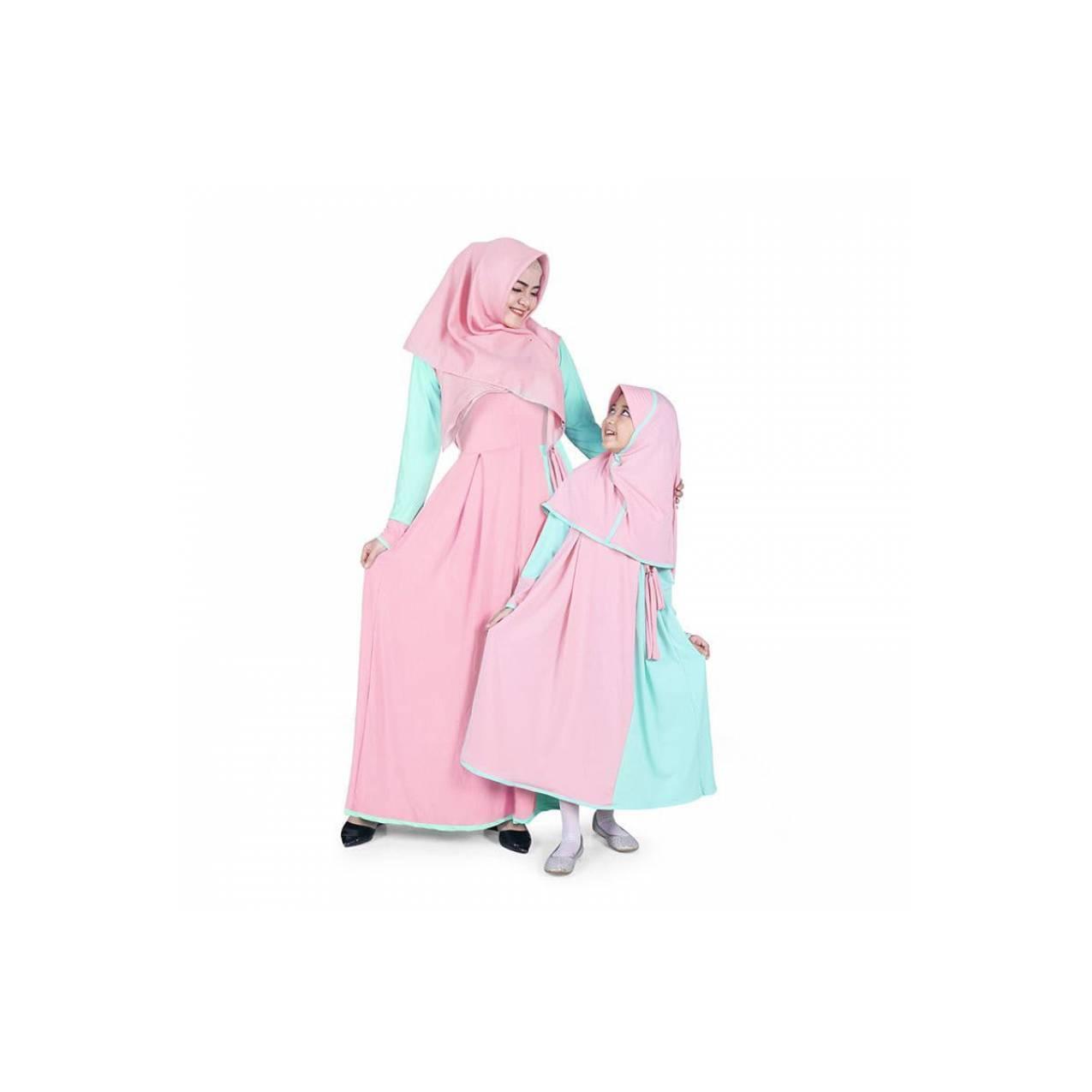 ORI... BAJUYULI - Baju Muslim Couple Gamis Ibu dan Anak Jersey - Mint