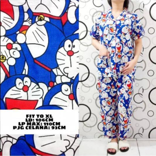 MichelleStore Piyama Wanita / Baju Tidur Doraemon Pajamas - Navy