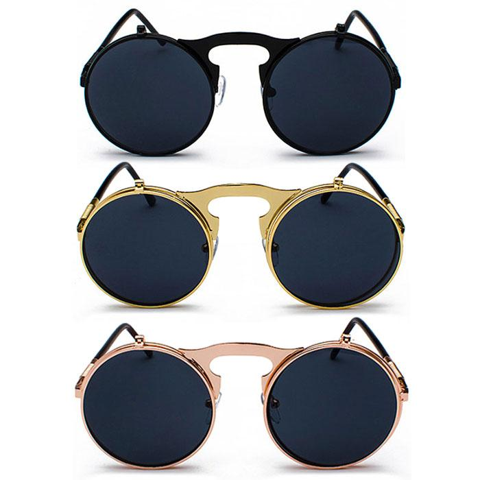Santorini Kacamata Pria Wanita Fashion Vintage Flip Sunglasses Metal Frame  Men Women Eyewear Glasses Sunglasses 10962b5ea2