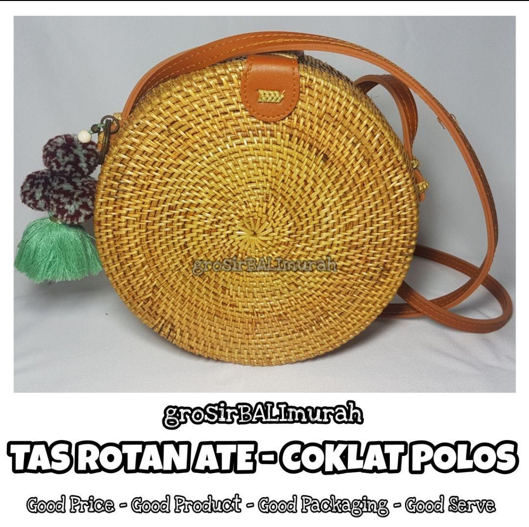 Tas Rotan Bali - 20cm POLOS COKLAT