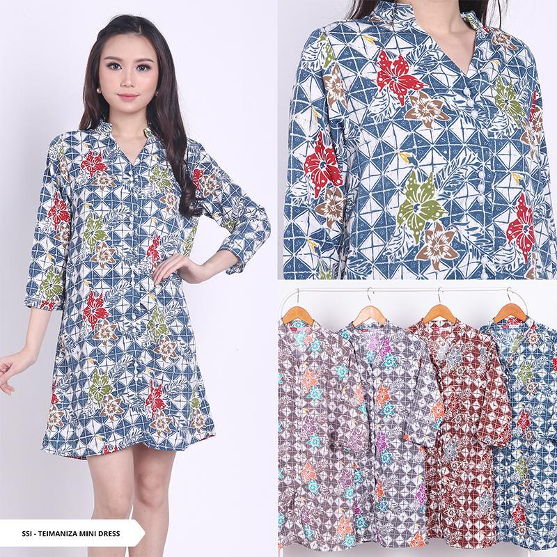 Teimaniza Batik V-neck Mini Dress - Teal