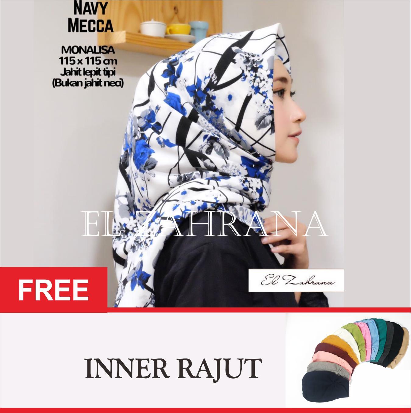 El Zahrana Kerudung Segi Empat - Jilbab Segi Empat - Jilbab Motif Monalisa - Monalisa Diorr - Premium Silk