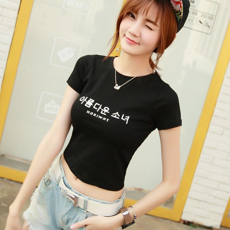 Lengan pendek baju kaos wanita membentuk tubuh Gaya Korea musim panas model pendek minimalis terkena pusar