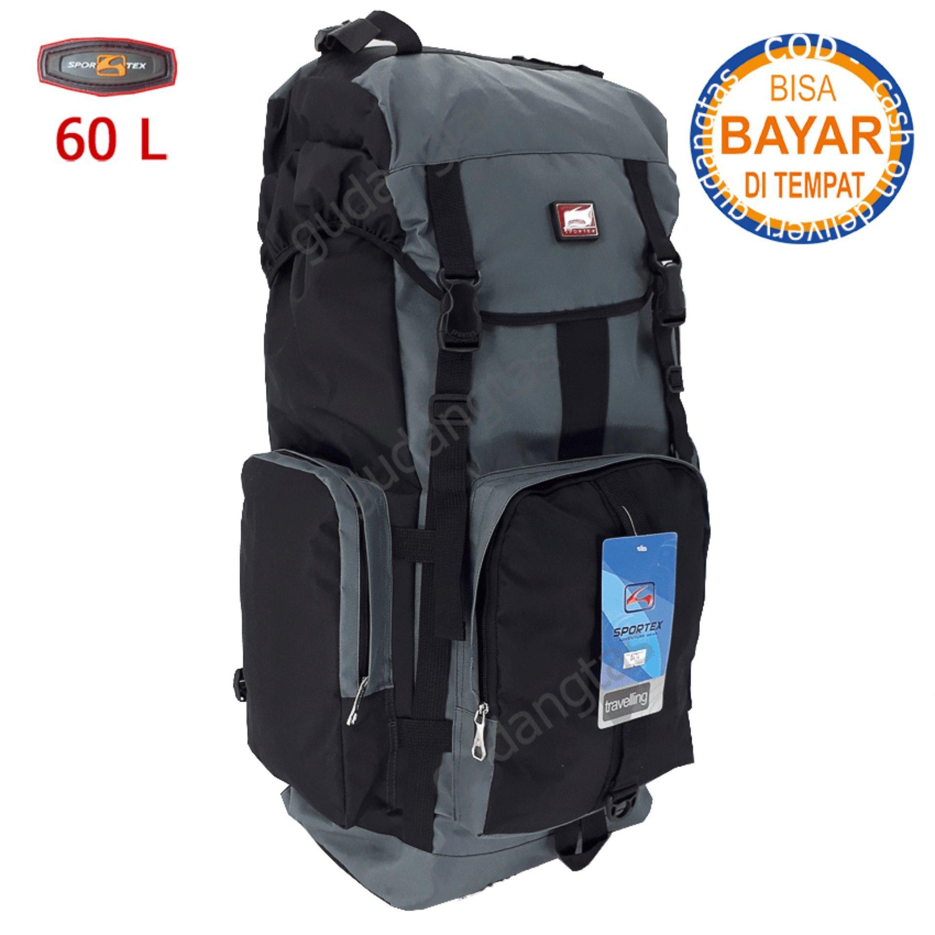 Sportex Tas Gunung Tas Keril Tas Carrier Tas Camping Tas Hiking 60L 04W4 Abu kombinasi Hitam