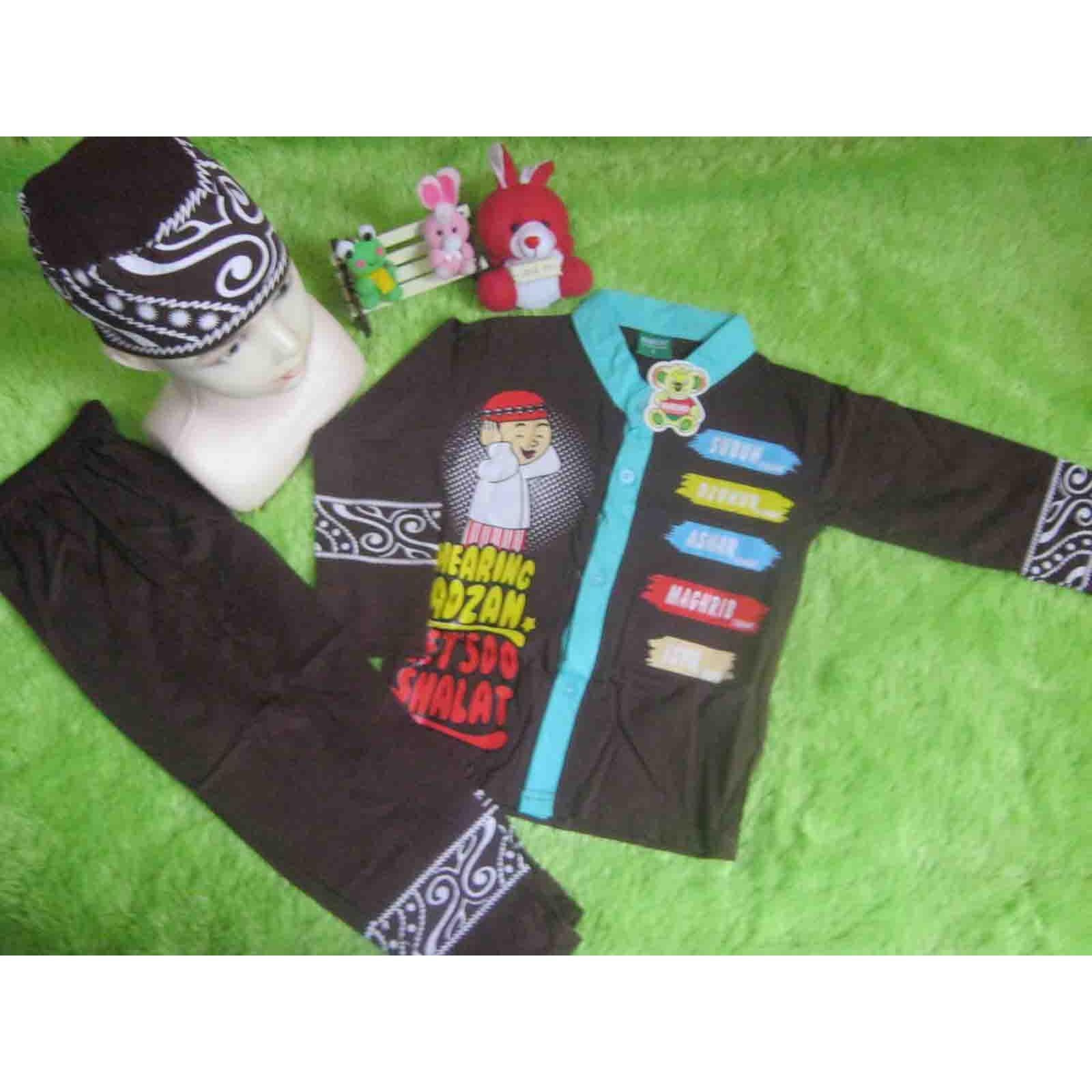 kembarshop - setelan baju koko baju muslim anak 2 tahun cokelat plus peci motif random