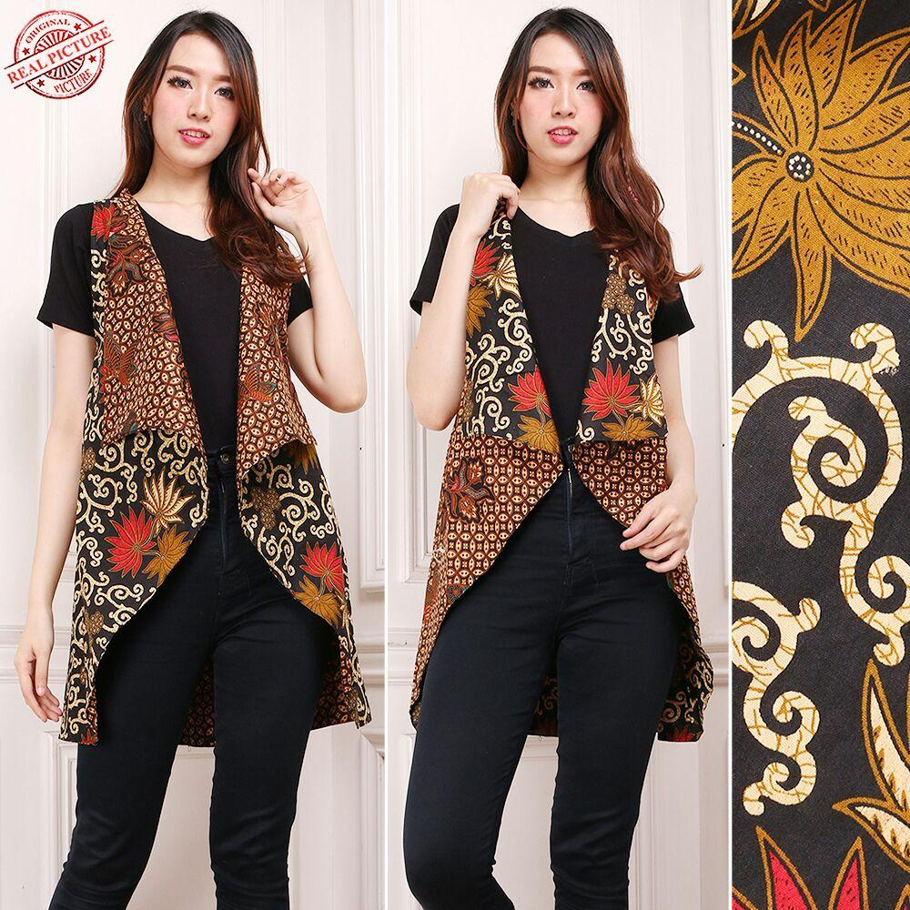 Cj collection Atasan blouse blazer bolero batik bolak balik wanita jumbo shirt Sita fit to XXL