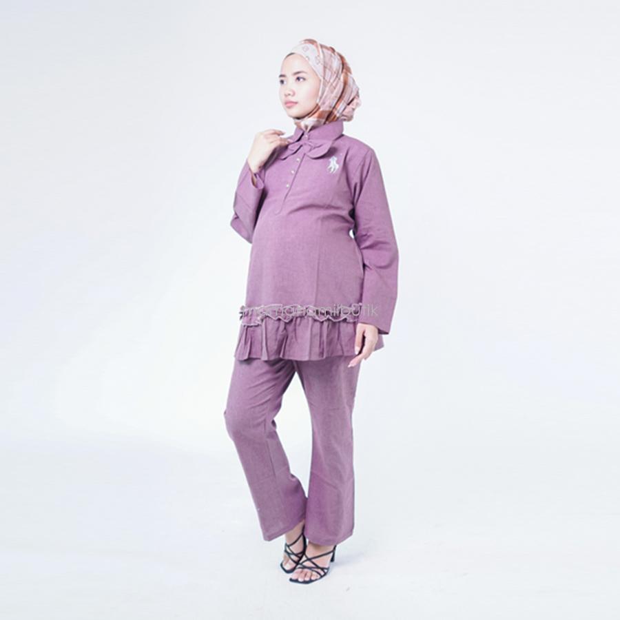 Baju Ibu Hamil Setelan Kerja Busui Friendly Kerah Ribbon Bordir Polo Rempel - Baju Hamil Surabaya - Baju hamil modern –Setelan kerja panjang - Baju hamil muslim - Baju kerja ibu hamil - Baju hamil gaya - Baju hamil dan menyusui - STJ 92