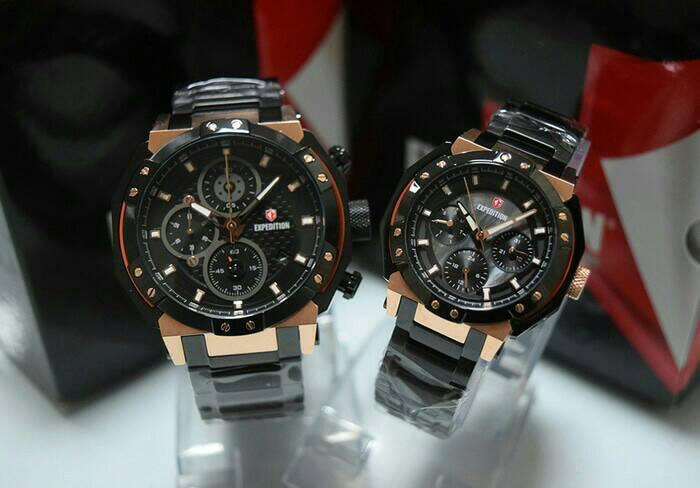JAM TANGAN COUPLE EXPEDITION E6385 ROSEGOLD BLACK