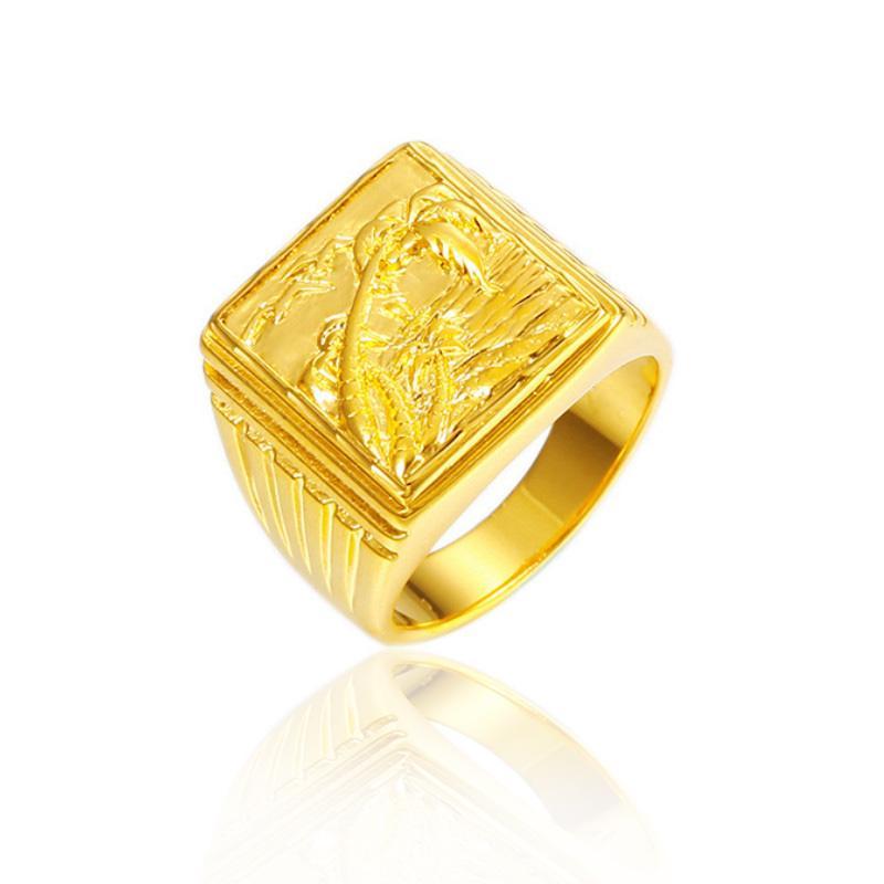 Fashion 24 K Gold Cincin Kasual Sederhana Cincin Pertunangan Pernikahan Perhiasan Hadiah untuk Pria Wanita Pria