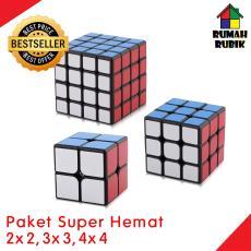 PROMO Paket Rubik Yongjun 2x2 Guanpo Black + 3x3 Guanlong Black + 4x4 Guansu Black