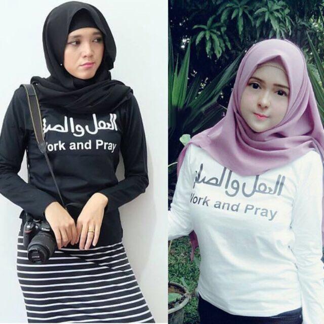 Damai fashion - baju atasan wanita lengan panjang syhni work n pray - 2 warna/konveksi