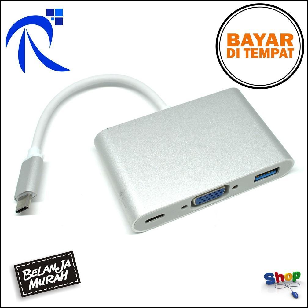 Rimas Aluminium USB Type C Male To USB 3.0 VGA And USB Type C Female - Silver / Perak Konektor Penyambung Penghubung Monitor dengan Kabel Cable VGA Berkualitas