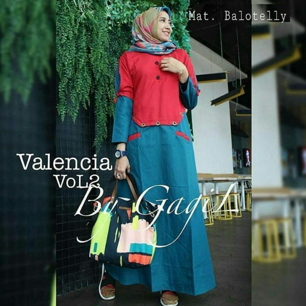 Valencia Vol. 2 / Gamis Remaja / Gamis Busui/gamis murah/dress murah/baju hijab (Atas biru)