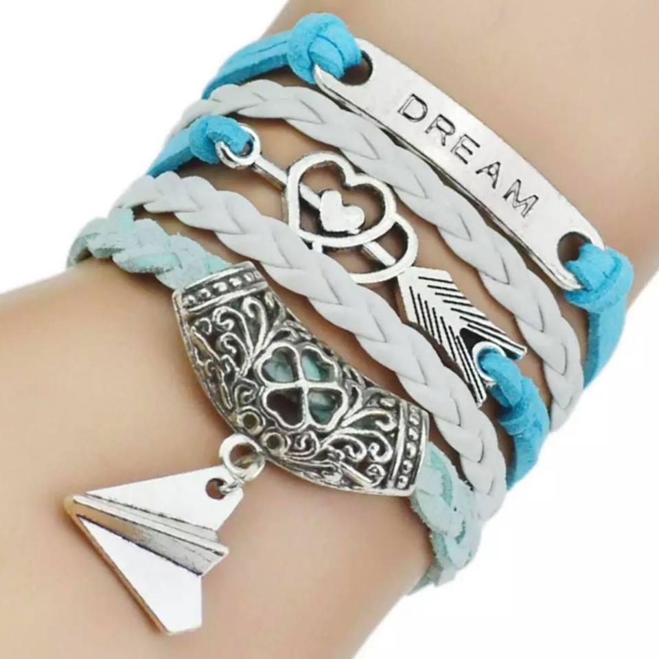 Rp 29.000. Aksesoris Gelang Tangan Wanita / Cewek / Perempuan Kulit Lilit Unik Keren Motif Dream - Fashion Women Bracelet ...