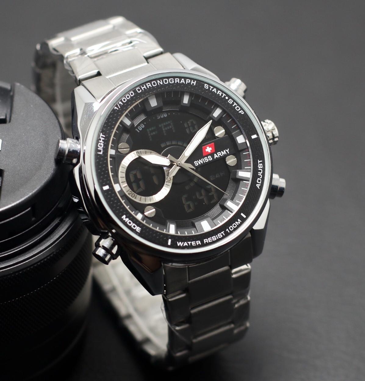 Jam Tangan pria - SWISS ARMY - SA 5526 SB - Dual time ( Analog &