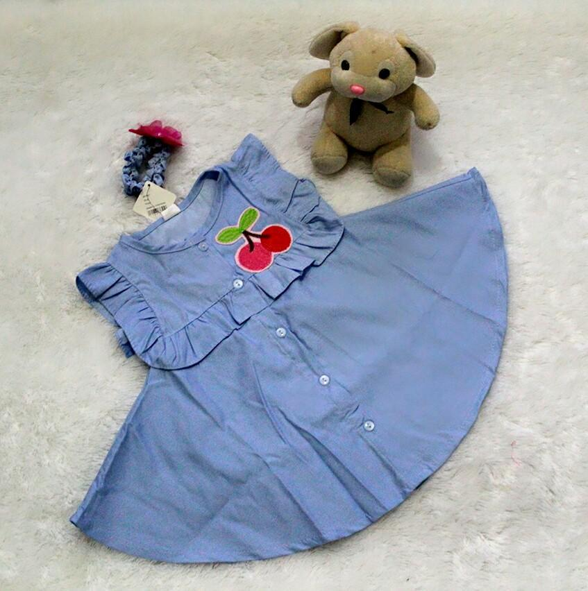 All Size 3-12 Bulan / Dress Baju Bayi Anak - Dress Cherry With Headband