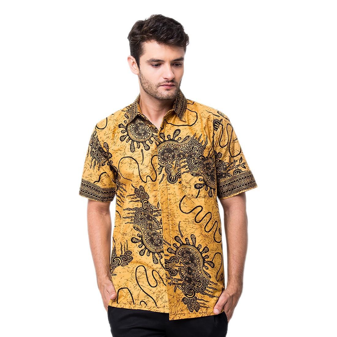 Baju Kemeja Batik pria Lengan Pendek 100% Bahan Katun